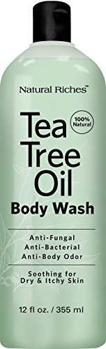 Antifungal TeaTree Oil Body Wash, Peppermint & Eucalyptus Oil Antibacterial Soap by Natural Riches -12 oz Helps Athletes Foot, Eczema, Ringworm, Toenail Fungus, Jock itch, Body Itch (1 Pack) ()