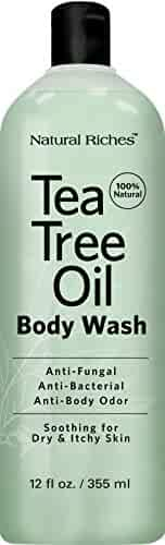 Antifungal Tea Tree Oil Body Wash Peppermint & Eucalyptus Oil Antibacterial Soap by Natural Riches -12 oz Helps Athletes Foot, Eczema, Ringworm, Toenail Fungus, Jock itch, Body Itch, Body Odor & Acne