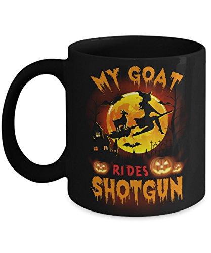 TeeCentury My Goat Rides Shotgun Halloween Goat Mug 11oz ()