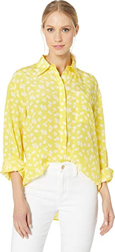 Juicy Couture Women's Ditsy Daisy Silk Button Down Blouse Morning Sunshine/Ditsy Small (Blouse Couture Couture Silk)