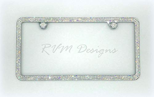 3 Row License Plate Frame made with Swarovski Crystals - Car Jewelry ()
