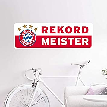 100x33cm Wandtattoo Rekordmeister Bayern M/ünchen Banner FCB Rekordmeister Fu/ßball Bundesliga Fans Meister Sterne Logo Wall-Art