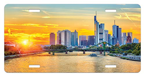 Lunarable Wanderlust License Plate, Frankfurt Sunset Architecture Landmark Skyscraper Vibrant Colors Waterfront, High Gloss Aluminum Novelty Plate, 5.88 L X 11.88 W Inches, Marigold Blue ()