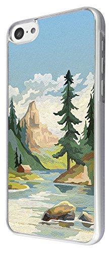 729 - Cool River Mountin View Design iphone 5C Coque Fashion Trend Case Coque Protection Cover plastique et métal