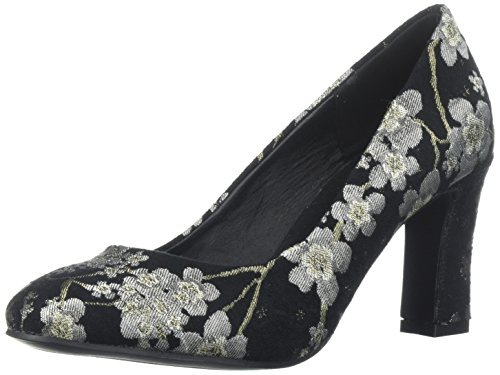 (Qupid Women's Low Heel Pump Black/Multi Fabric, 9 M US)