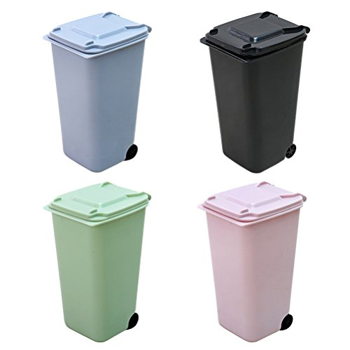 TOYMYTOY 4Pack Mini Trash Can Wastebasket Storage Bin Desktop Garbage Organizer Set Pen Pencil Cup Holder Office Supplies