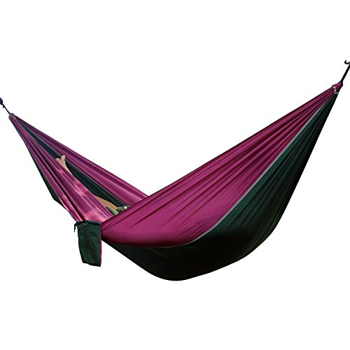 Anken Double Camping Hammocks-Ultralight Portable Nylon Parachute Multifunctional Hammock for Light Travel, Camping, Hiking, Backpacking, Mats, Swing, Carpet (Dark Green/Purple)
