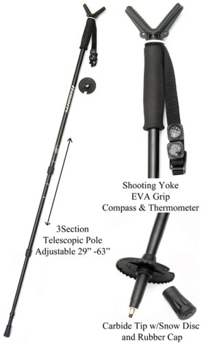 (Hammers Shooting Stick/Monopod Gun Pod Shooting Stick/Monopod, Lightweight Alloy, Black)