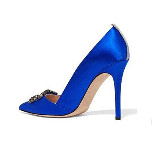 40414243444546 scarpe blue Scarpe alto Ladies 38 da a Banquet donna grandi Womens Blue tacco YWNC punta dimensioni Satin strass naATzxfqS