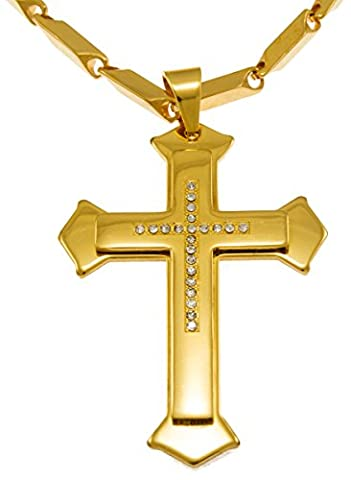 Hip Hop Bling Iced Surgical Stainless Steel Passion Cross Gold Tone Pendant Free 36