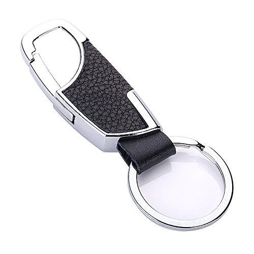 Leather Valet Key Chain with Car Business Keychain for for Men and Women - Black (Z-Y01)
