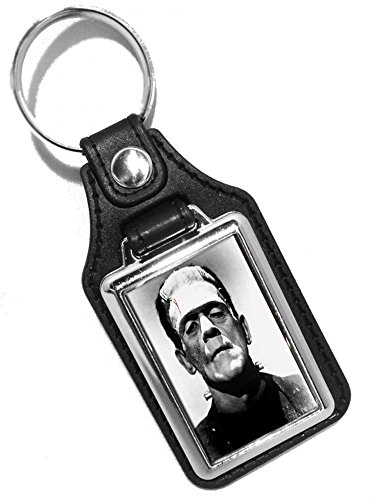 Brotherhood Two 1960's Movie Monsters Wolfman, Dracula, Frankenstein, Mummy and More Faux Leather Key Rings (Frankenstein) -