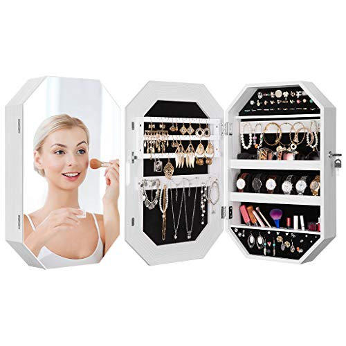 - LANGRIA Diamond-Shaped Jewelry Cabinet with Frameless Full-Size Mirror and Premium Wooden Finish Features Lockable Wall-Mounted Design for Hidden Storage of Armoire, Accessories, and Makeup