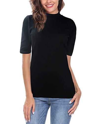 (modase Women's Short Sleeve Stretchy Tshirt Slim Fit Mock Turtleneck Comfy Basic Tee Top Black/XXL)