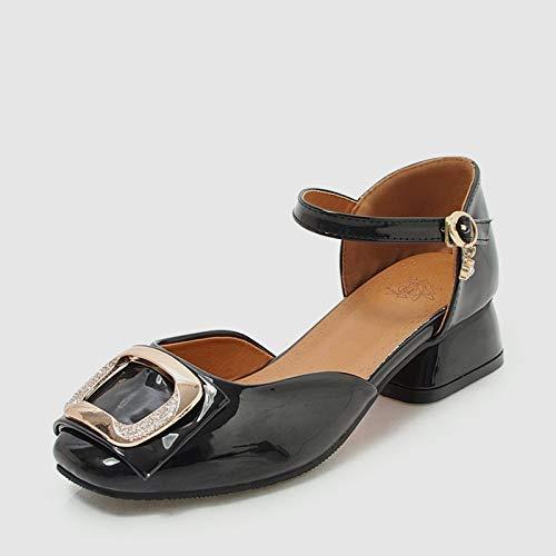 noir HommesGLTX Talon Aiguille Talons Hauts Sandales Nouvelle Arrivée Mode Femmes Décontracté Med Talons Sandales 2019 été Plus La Taille 34-48 élégant Boucle Chaussures Femme PU