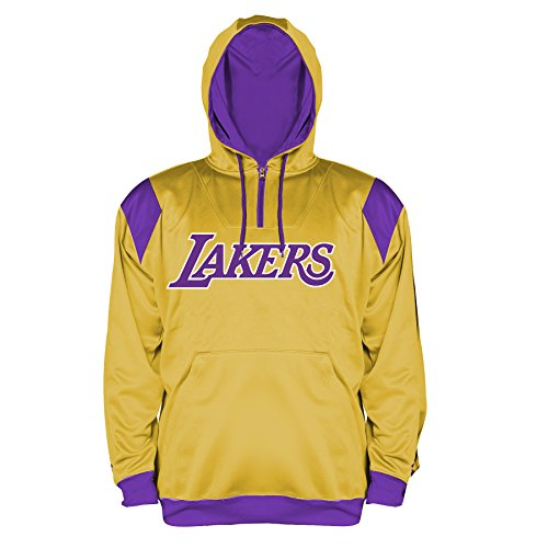 (NBA Los Angeles Lakers Men's Big & Tall 1/4 Zip Synthetic Pullover Hoodie, 3X, Gold)