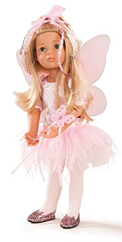 """Gotz Happy Kidz Marie 19.5"""" Multi-Jointed Posable Standing Doll with Blonde Hair to Wash & Style, Blue Eyes and Fairy Dres with Wings, Wand and Glitter Shoes"""