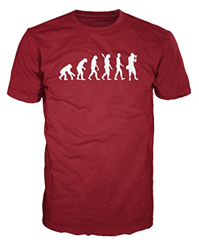 Dalesbury Photographer Evolution Funny T-Shirt (M, Brick Red) ()