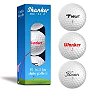 Shanker Golf Balls - Rude Trick Balls with Funny Sayings (Sleeve of 3, Novelty Gag, Playing Quality) - The #1 Ball for Shite Golfers