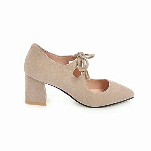 Carolbar Women's Western Charm Pointed Toe Block Mid Heel Court Shoes Beige s2QeVRr