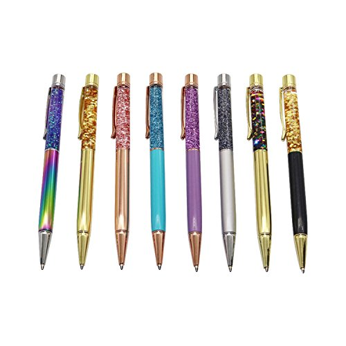 HANBINGPO 1.0Mm Ballpoint Flow Oil Crystal Foil Metal Copper Gold Powder Quicksand Pen Black
