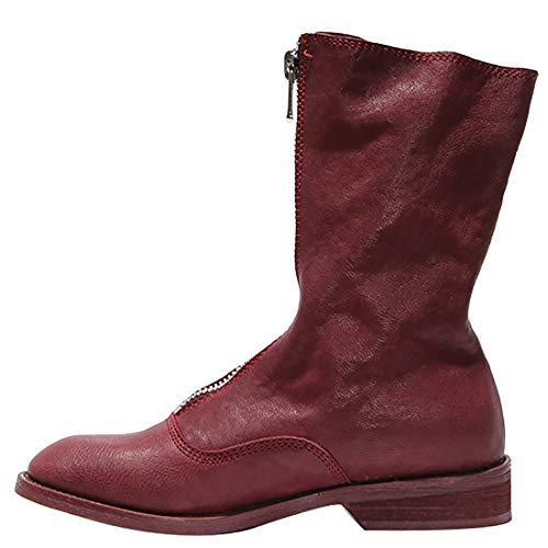 3 Red Juworth Ankle Zipper cm Low Womens Leather Heel 518 Jushee Boots wEv5xf6qf