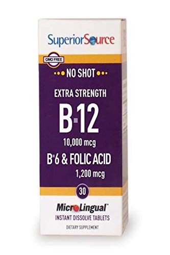 30 Folic Tablets Acid (Superior Source No Shot Vitamin B12 Methylcobalamin 10,000 mcg Sublingual - B6 - Folic Acid - Instant Dissolve Tablets - Methyl B12 Supplement 30 Count)