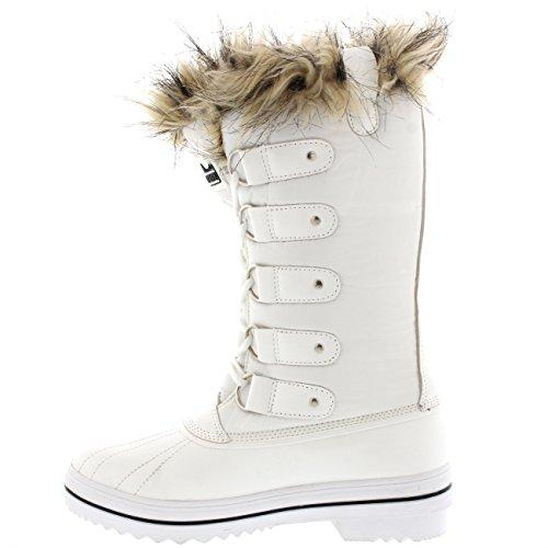 Pioggia Neve Bianco Pizzo Fino Nylon Gomma In Di Stivali La Unico Polsino Scarpa Polari Alto Impermeabile Inverno Donne nOIIqpx8B