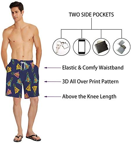 Colorful Fishing Lures Pattern Mens Board Shorts Swim Mesh Lining and Side Pocket