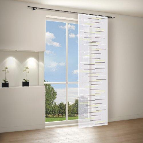 Gardine / Vorhang / Flächenvorhang ZEENA / Schiebevorhang B/H: 60x245cm / Halbtransparente Qualität / Scherli Effekt / grün