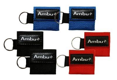 6 Pc Variety Ambu Res-Cue Key Mini CPR Mask Keychains (2-Rd 2-Blu 2-Blk)