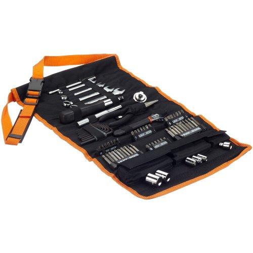 Black + Decker  A7063 76-teiliges Mechaniker-Set, Werkzeug-Rolltasche, mit Tragegurt, Steckschlüssel, Bits