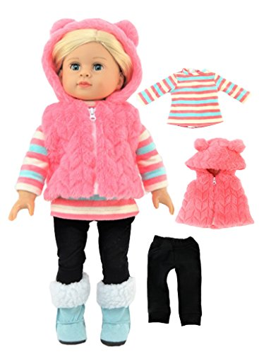 """Furry Coral Colored Chevron Bear Vest Outfit -Fits 18"""" American Girl Dolls, Madame Alexander, Our Generation, etc. 