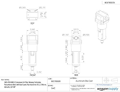"SMC AF50-N06C-Z Compressed Air Filter, Removes Particulate, Polycarbonate Bowl with Bowl Guard, Float Auto Drain (N.C.), 5 Micron, 424 scfm, 3/4"" NPT"
