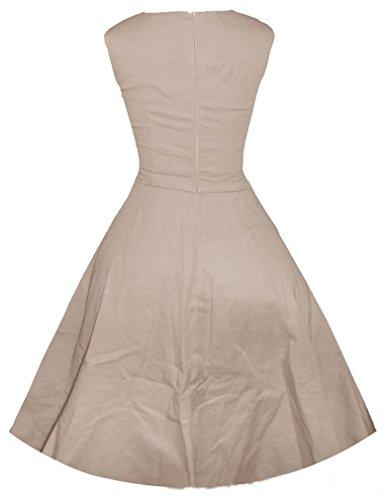 Eyekepper 50s 60s Sin mangas sólido de la vendimia del collar de la plaza vestido de oscilación Delgado Albaricoque