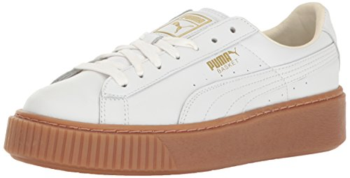 PUMA Women's Basket Platform Core Sneaker, White White,7.5 M US (Womens Shoe Platform)