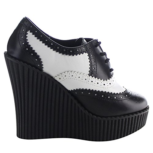 Creeper-307 met sleehak en brogue detail zwart/wit - Emo Gothic