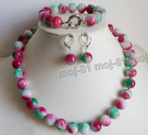 Color Earrings Multi Jade (Beautiful Natural 10mm Multicolor Jade Round Beads Necklace Bracelet Earring Set)