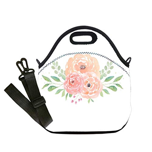 3D Print Neoprene Reusable Cooler Fashion Lunch Bag Watercolor wedding flowers Watercolor peonies and leaves Floral arrangement Wedding clipart Lunch Bag- Insulated and Reusable Artful - Clipart Wedding