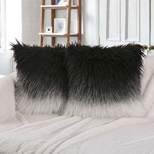 Phantoscope Set of 2 Decorative New Luxury Series Merino Style Black and White Fur Throw Pillow Case Cushion Cover 22