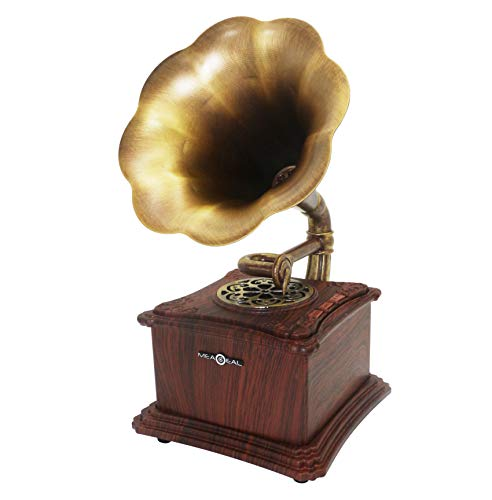 Mini Vintage Retro Classic Style Phonograph Gramophone Shape Stereo Speaker Sound System Music Box 3.5mm Audio Blue Tooth 4.2 Aux-in/Micro SD/USB Flash Drive