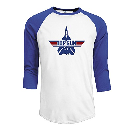 Men's Contrast Color Top Gun Flight Ship Logo Raglan Baseball (Top Flite Mens Xl)