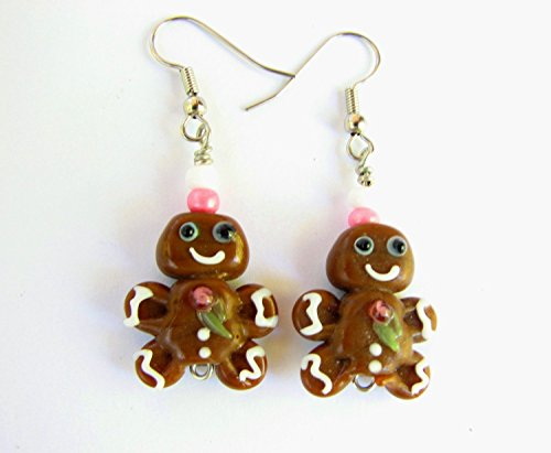 Gingerbread Man Frosting - Gingerbread Man Christmas Cookie Earrings