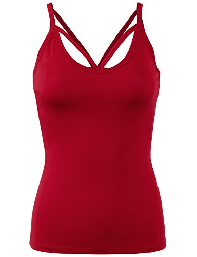 (BEKDO Womens Sweetheart Neck Cami Tank Top Active Wear -M-RED)