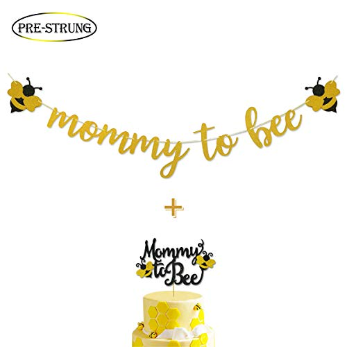 Mommy To Bee Gold Glitter Banner & Mommy To Bee Cake Topper for Bumble Bee Baby Shower Gender Reveal Party -
