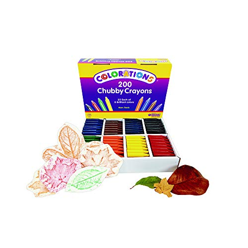 Colorations Chubby Crayons for Kids Set of 200 Rainbow Crayons Classroom Supplies (2-11/16''L x 9/16''Dia) by Colorations (Image #1)