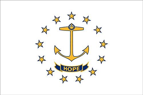 SoCal Flags Rhode Island Flag from 3x5 Foot Polyester Rhode Island State Flag - Sold by A Proud American Company - Durable 100d Material Weather Resistant