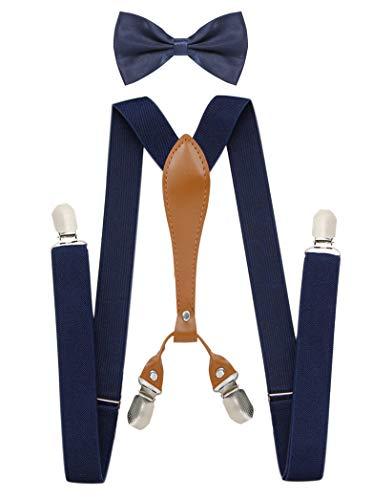Navy Blue Suspenders X-back Tie Suspenders Clip Suspenders Bow Tie and Suspenders for Men