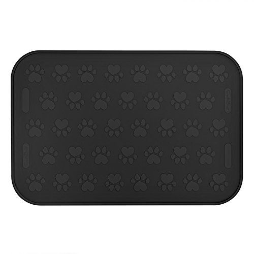 "SmithBuilt 24"" x 16"" Large Dog Food Mat - Waterproof Non-Slip FDA-Grade Silicone Cat Pet Bowl Feeding Placemat - Black"