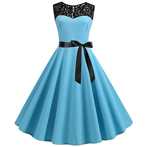 FORUU Vintage Dresses for Womens, Ladies 1950s Retro O Neck Sleeveless Bowknot Lace Splice Solid Party Prom Swing 2019 Best Gift for Mother Above Knee Empire Under 5 10 15 Dollars